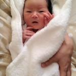 生後2日目の次女。名前は桜花(はるか)です。