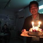 ちょうど誕生日だったので、サプライズでお祝いをしてもらいました。スタッフの皆さん、ありがとうございました。