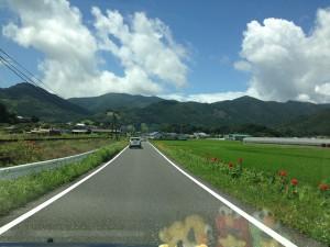 Mさま邸に向かう途中です。眩しいくらいのお天気ですが、気持ちのいい風景でした♪