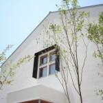 白い壁に植栽が映えて、すっきりと気持ちの良い外観です。