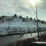 広島に着くと雪がまだたくさん残っていました